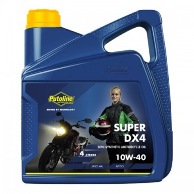4 LITRE PUTOLINE SUPER DX4 10W/40 SEMI-SYNTHETIC 4 STROKEENGINE OIL API SG/JASO MA image