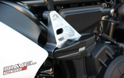 1 PAIR GSG PROTECTORS, DUCATI DIAVEL 1260 2019 ON, BLACK ANODIZED ADAPTOR image